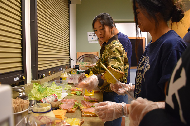 Southridge students make sandwiches to take to the Surrey Urban Mission.